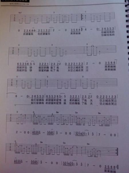 求李志《天空之城》吉他谱,要清晰点的六线谱啊,非常感谢图片