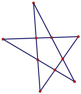 数学10个棋子,摆成5行图片