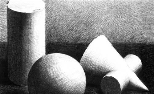 找一张素描画 左边是一个瓶和球体,右边是圆锥和圆柱圆锥穿插体.图片