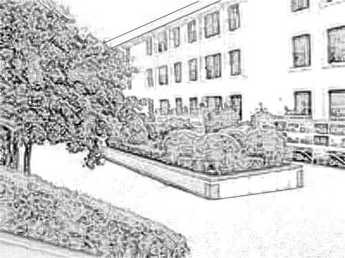哪里有校园一角的简笔画?_百度知道