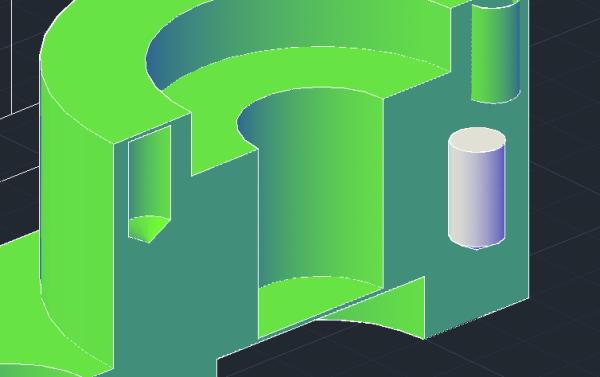 怎样在CAD中挖掉半开口的圆柱体图片
