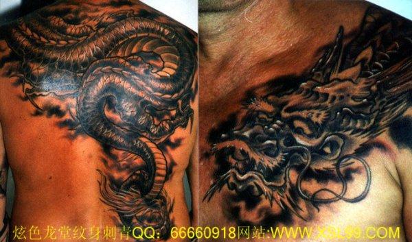 想纹身,龙(从后背到肩再到胸)或者鲤鱼跃龙门图片