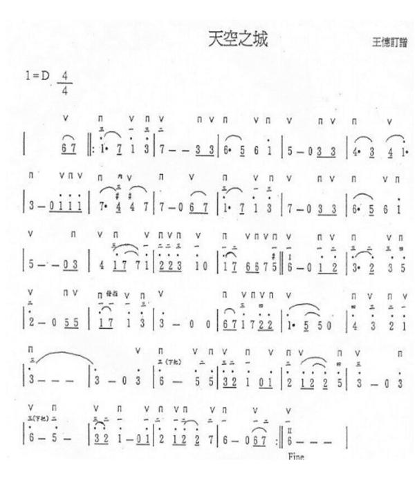 天空之城钢琴与陶笛合奏钢琴谱(简易)图片