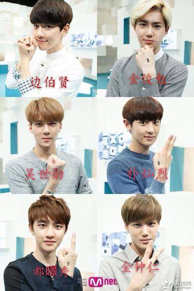 exo成员图片配名字 图片下面配名字 谢谢