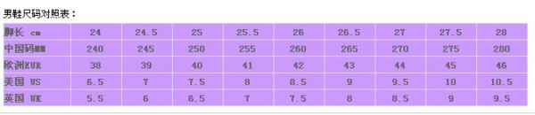 男鞋尺码对照表图片