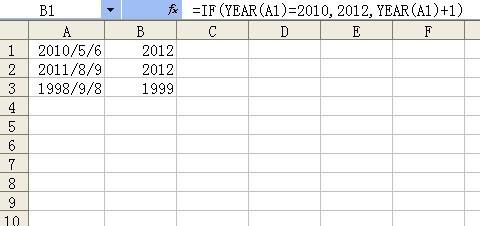 excel中日期的年份进行计算,如果年份等于201
