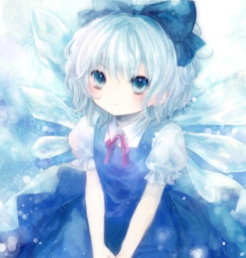 冰蓝色高冷动漫少女图片