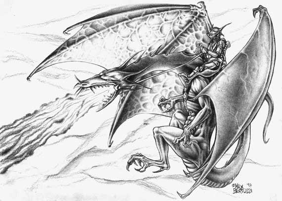 ... 龙素描画_螭龙素描高清霸气的西方龙素描螭龙素描