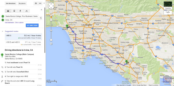 美国加州圣莫尼卡大学离尔湾有多远