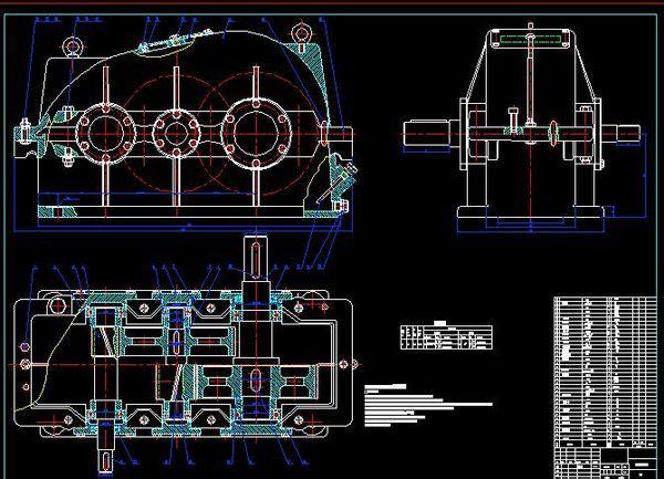 二级圆柱斜齿轮减速器装配图 三视图 CAD图