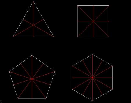 如图所示的图形分别是正三角形,正方形,正五边形,正六边形分别有几条图片
