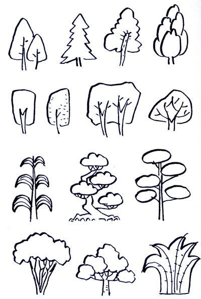 幼儿简笔画 树和花的画法
