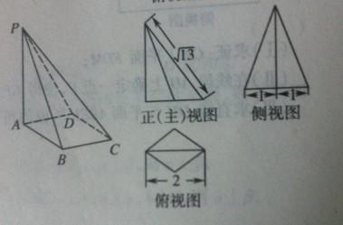 一个四棱锥的底面为正方形,其直观图与三视图如图所示图片