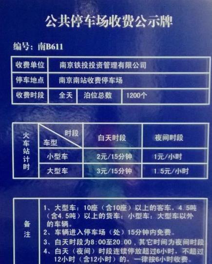 大连市停车场收费标准一览表图片