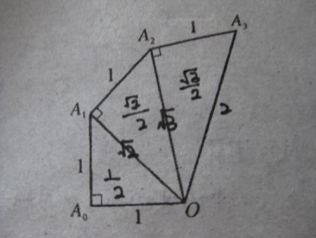 如图 是由一系列直角三角形组成的螺旋形图案,oa是多少图片