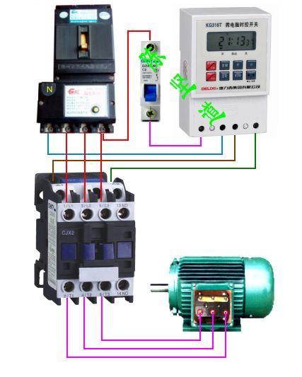 求220v电源,交流接触器cjt1 20和kg316t时控开关 接线图 电-时控开