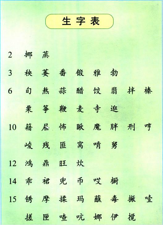 六年级上学期第七册语文书生字表图片